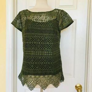 Banana Republic Mixed Lace short sleeves blouse